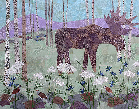Moose and Three Sparrows by Janyce Boynton