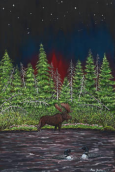 Moose In Evening Water With Loons by Ron Dietman