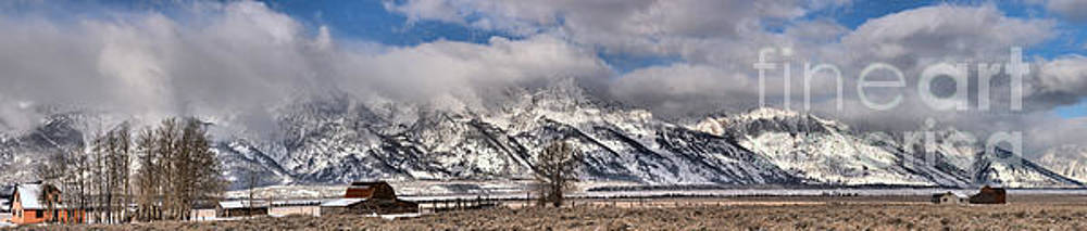 Mormon Row Snowy Extended Panorama by Adam Jewell