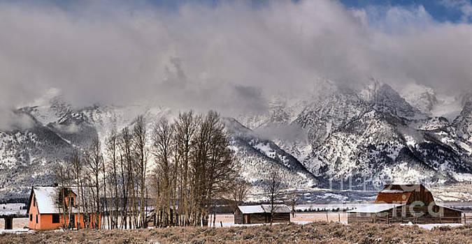 Mormon Row Winter Morning Panorama by Adam Jewell