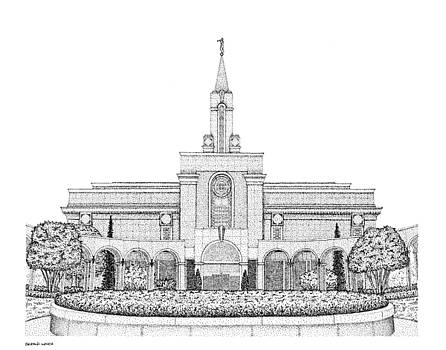 Bountiful, House of the Lord in Pointillism by Gerald Lynch