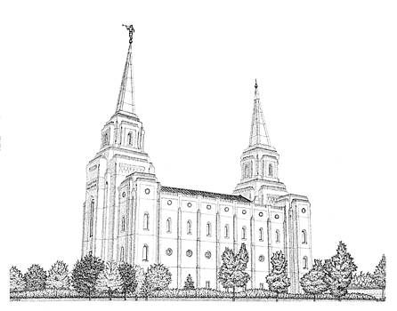 Brigham City, House of the Lord in Pointillism by Gerald Lynch