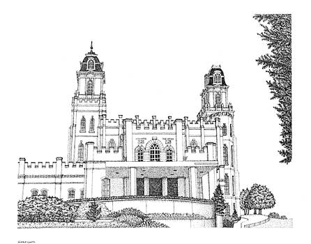 Manti, House of the Lord in Pointillism by Gerald Lynch