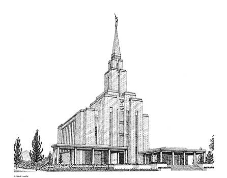Oquirrh Mountain, House of the Lord in Pointillism by Gerald Lynch