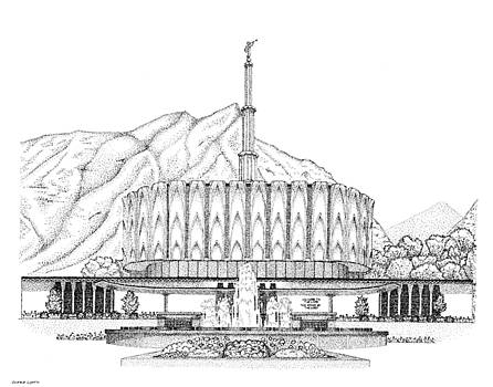 Provo, House of the Lord in Pointillism by Gerald Lynch