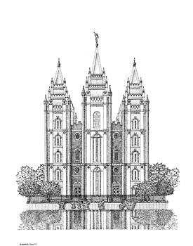Salt Lake, House of the Lord in Pointillism by Gerald Lynch