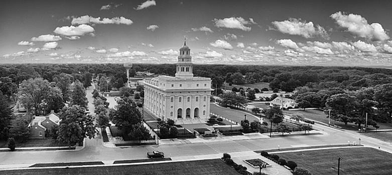 Mormon Temple in Nauvoo Black and White by Robert Turek