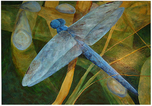 Morning - Blue Dragonfly  by Ellen Beauregard