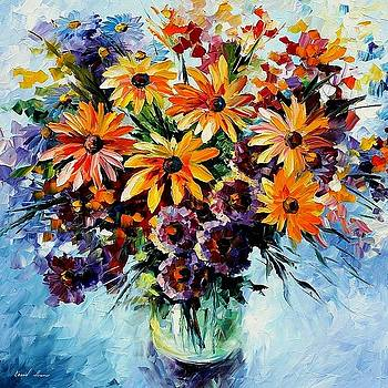 Morning Bouquet - PALETTE KNIFE Oil Painting On Canvas By Leonid Afremov by Leonid Afremov