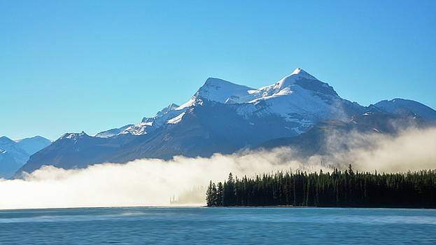 Morning fog at Lake Maligne by Daniela Constantinescu