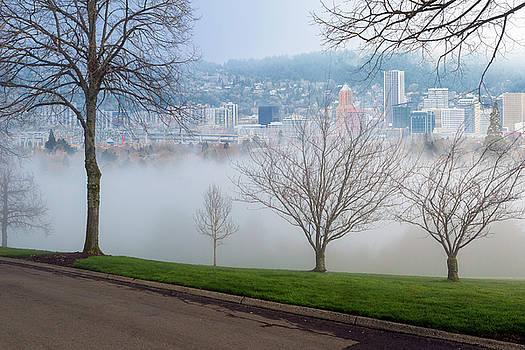 Morning Fog over City of Portland Skyline by David Gn