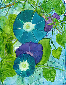 Morning Glories in Watercolor on Yupo by Conni Schaftenaar