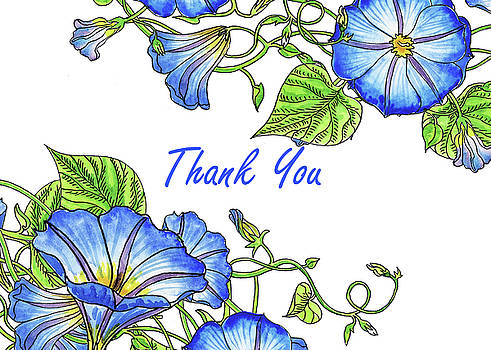 Irina Sztukowski - Morning Glory Watercolor Thank You Card Design
