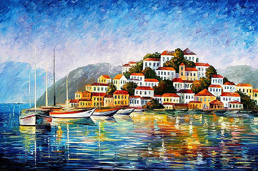 Morning Harbor - PALETTE KNIFE Oil Painting On Canvas By Leonid Afremov by Leonid Afremov