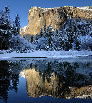 Reimar Gaertner - Morning light on El Capitan in winter reflected in the Merced Ri