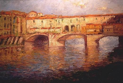 Morning light on the Ponte Vecchio bridge by R W Goetting