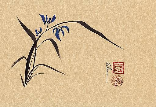Morning Orchids - Sumie Ink Brush Painting by Rebecca Rees