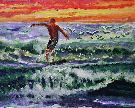 Morning surf with birds by Julianne Felton