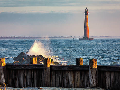 Morris Island Lighthouse Morning Light and Mist by Donnie Whitaker