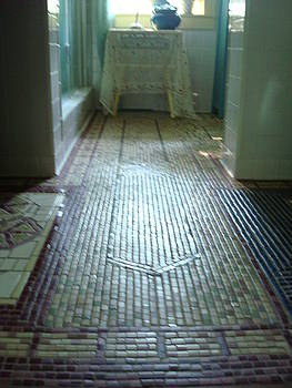 Mosaic floor using NYC Subway tiles by Robin Miklatek