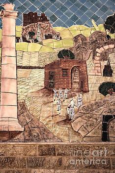 Mosaic images at Petra by Mae Wertz
