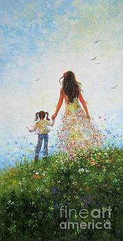 Mother and Daughter in Flowers by Vickie Wade