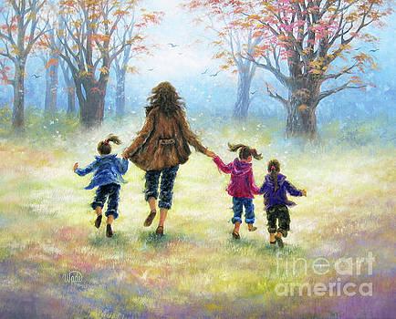 Mother and Three Daughters Out For A Walk by Vickie Wade