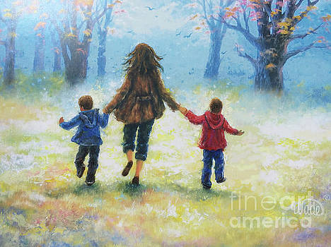 Mother and Two Sons Out For A Walk by Vickie Wade
