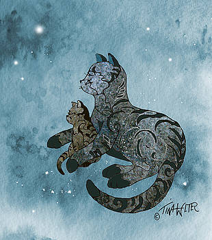 Mother Cat and Kitten Heavenly Night by Tina Welter