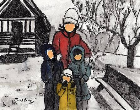 Mother, Karla, Janel and David on Snowy Day by Janel Bragg