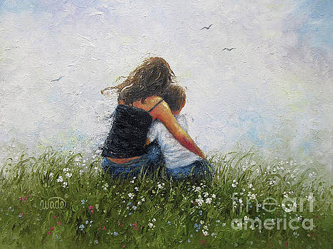 Mother Son Hugging by Vickie Wade