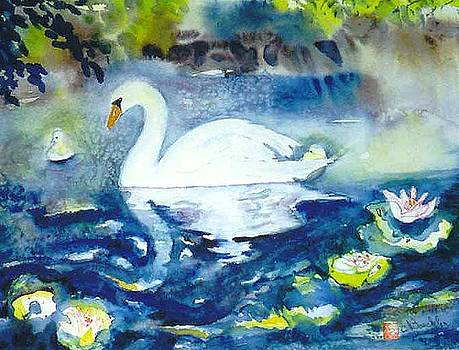 Mother Swan and Baby by Norma Boeckler