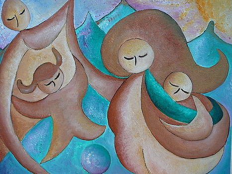 Motherhood family oil painting Us today original by Gioia Albano by Gioia Albano