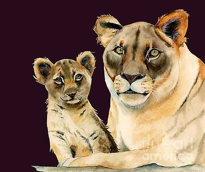 Motherhood - Mother Lion and Cub Watercolor Painting by NamiBear