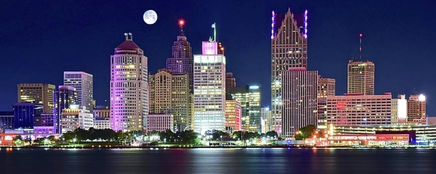 Motor City Night with Full Moon by Frozen in Time Fine Art Photography