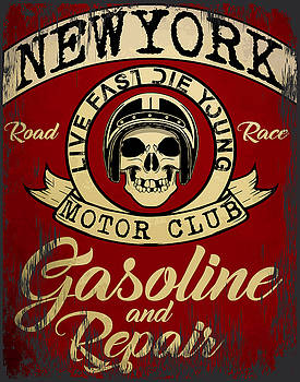 Motorcycle Racing Typography Graphics and Poster. Skull and Old  by Tolga Ozcelik