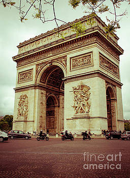 Motorcycles and The Arc de Triomphe by Marina McLain