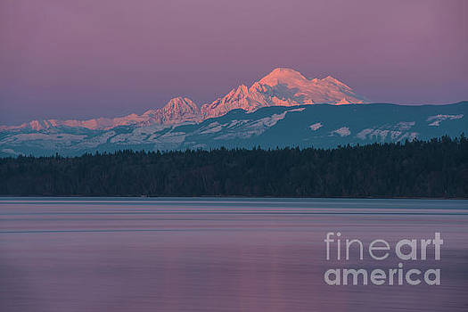 Mount Baker Alpenglow Tranquility by Mike Reid