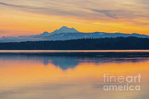Mount Baker Bay Sunrise Reflection by Mike Reid