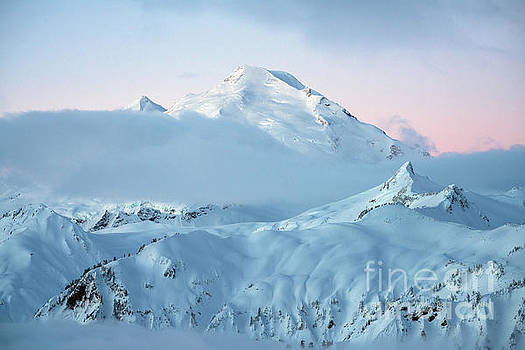 Mount Baker Fresh Snow Dawn by Mike Reid