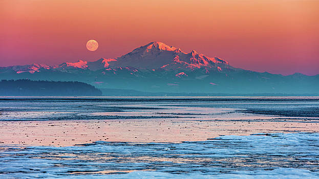 Mount Baker Full Moon At Sunset by Pierre Leclerc Photography