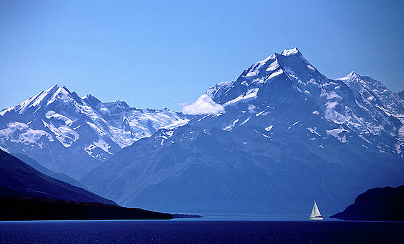 Mount Cook New Zealand sailboat by Mark Duffy