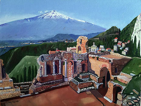 Mount Etna and Greek Theater in Taormina Sicily by Mary Capriole