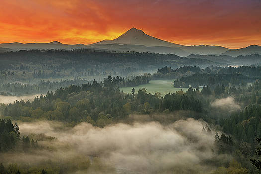 Mount Hood and Sandy River Valley Sunrise by David Gn