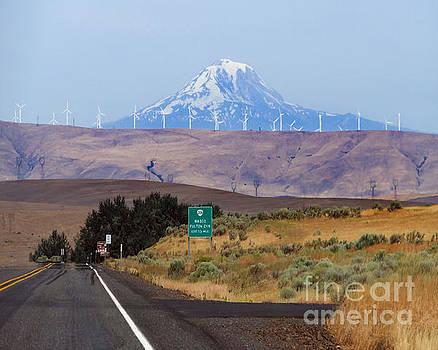 Mount Hood and Wind Turbines, Oregon by Catherine Sherman