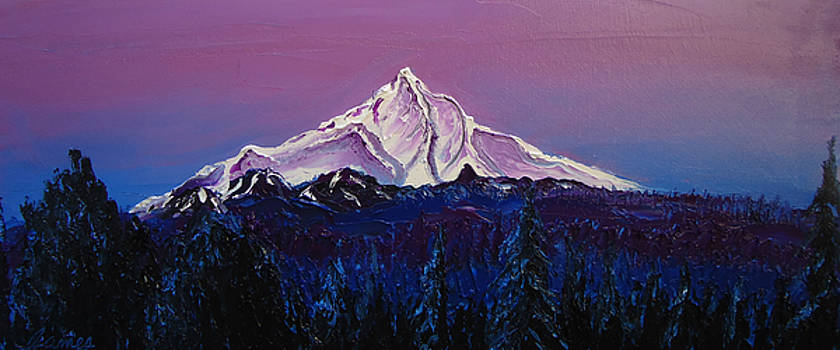Mount Hood At Dusk 7s by Portland Art Creations
