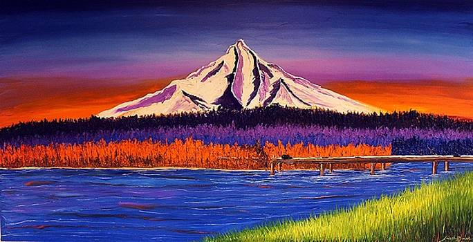 Mount Hood Over Glenn Jackson Bridge #2 by Portland Art Creations