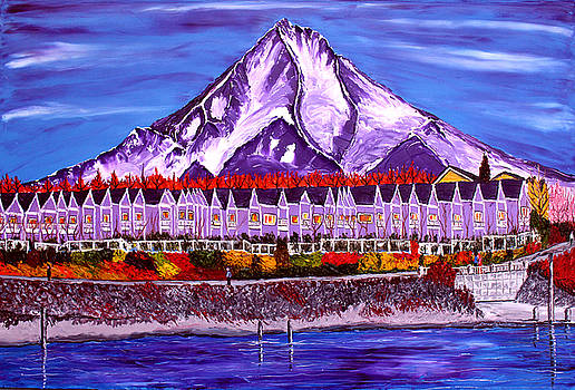 Mount Hood Over The Columbia Shores Renaissance Trail by Portland Art Creations