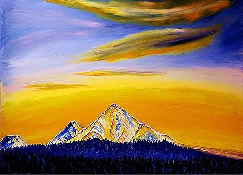Mount Hood, Rainier, St. Helens by Portland Art Creations