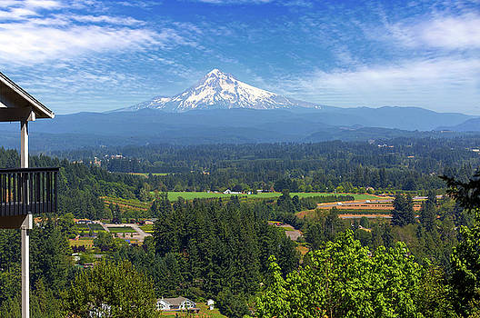 Mount Hood View from Backyard Deck by David Gn